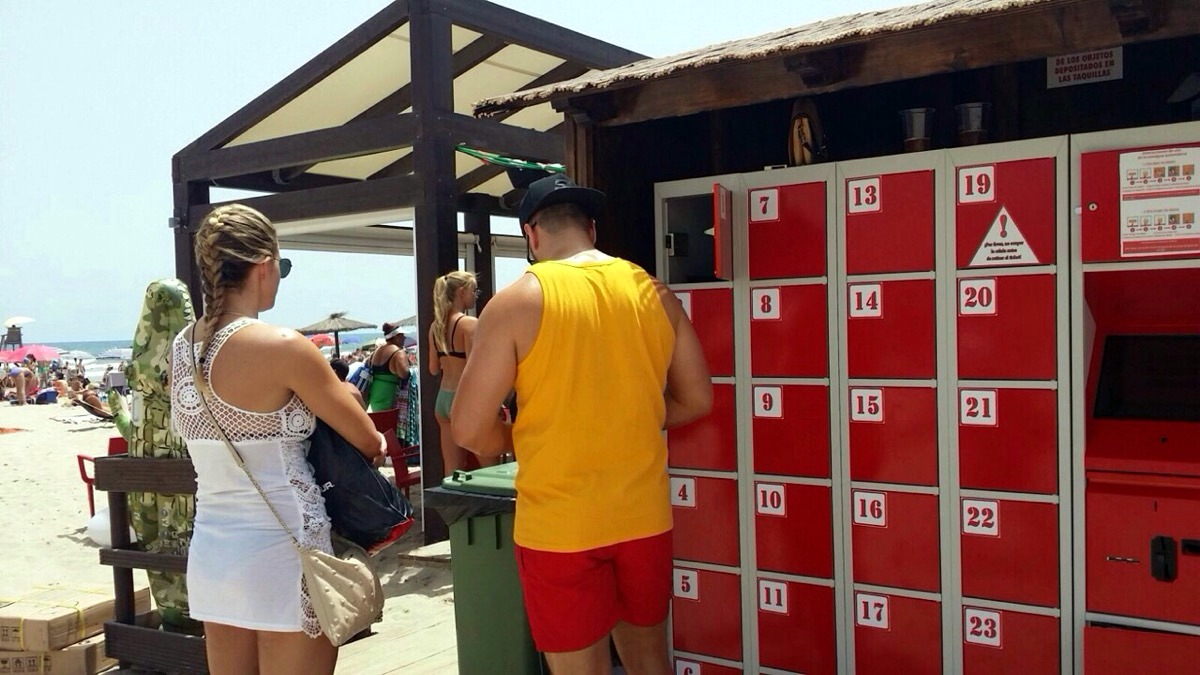 Automatic beach lockers, Spain